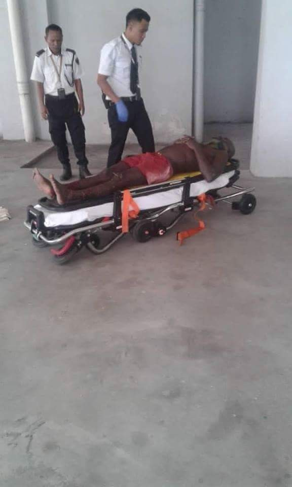 Photos: Nigerian man severely injured after he jumped from storey building while trying to evade police In Malaysia
