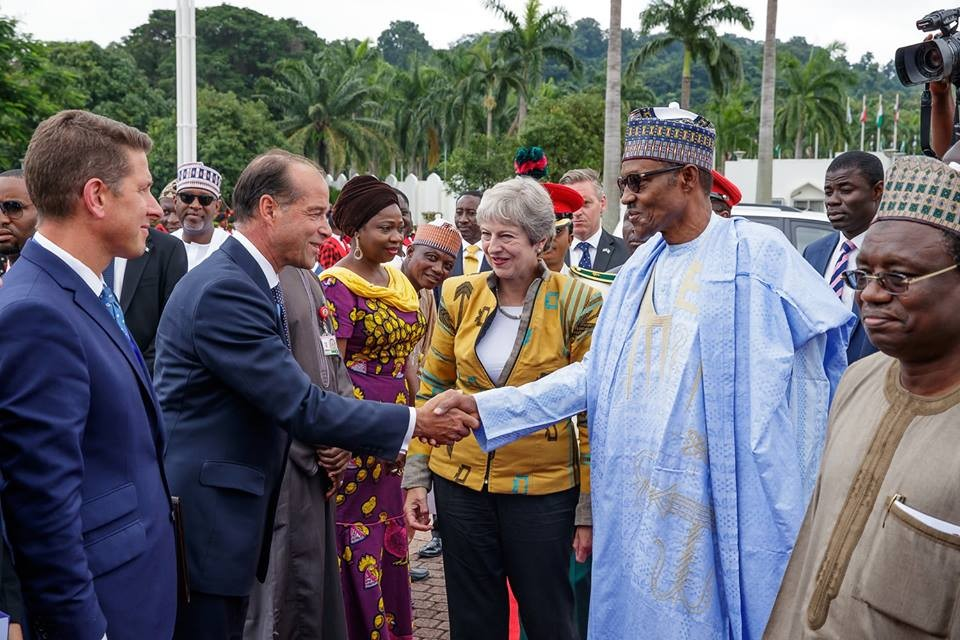 UK prime minister, Theresa May arrives Nigeria, meets Buhari in Aso Rock (Photos + Video)