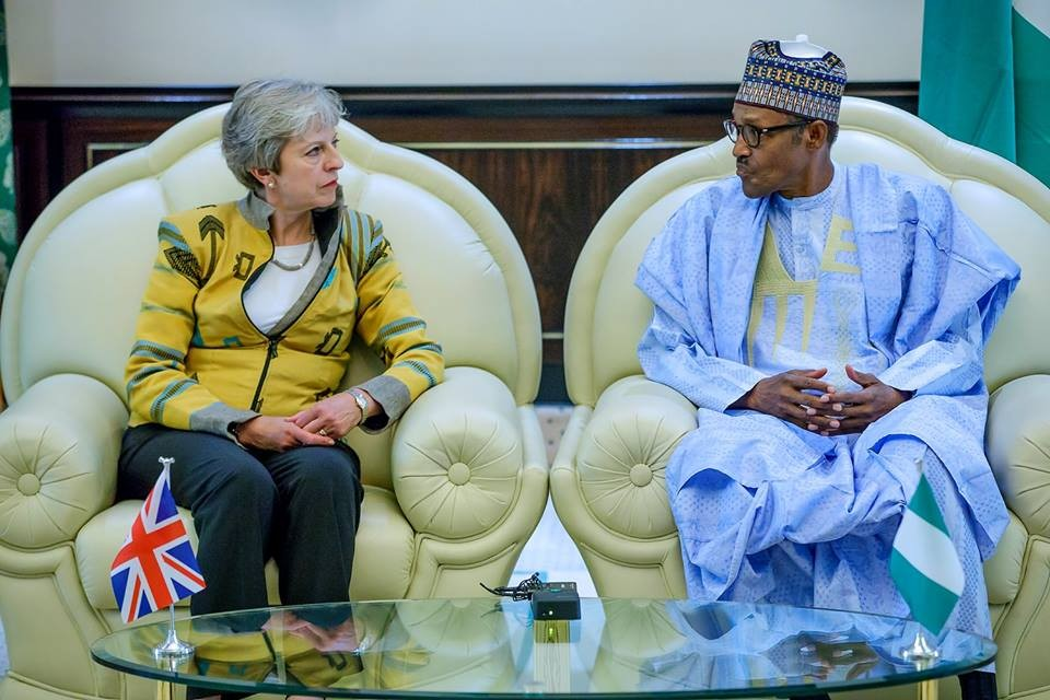 UK prime minister, Theresa May arrives Nigeria, meets Buhari in Aso Rock (photos/video)