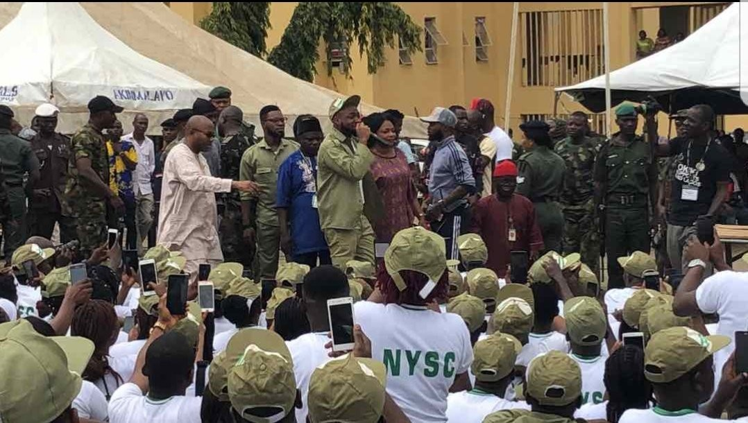 See photos of Davido addressing his fellow corps members as they sit on the floor at Lagos NYSC Camp