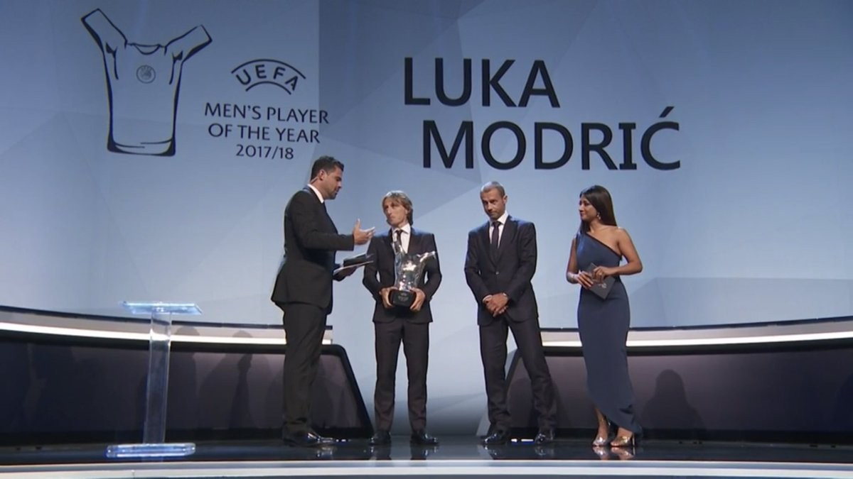 Real Madrid midfielder Luka Modric beats Cristiano Ronaldo and Mohamed Salah to win UEFA