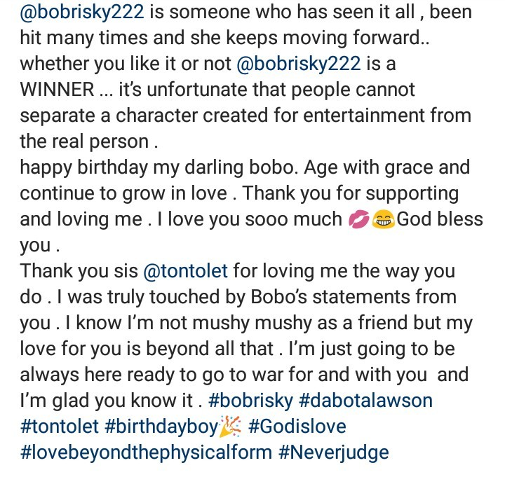 Dabota Lawson refers to Bobrisky in the feminine form as she showers him with glowing words
