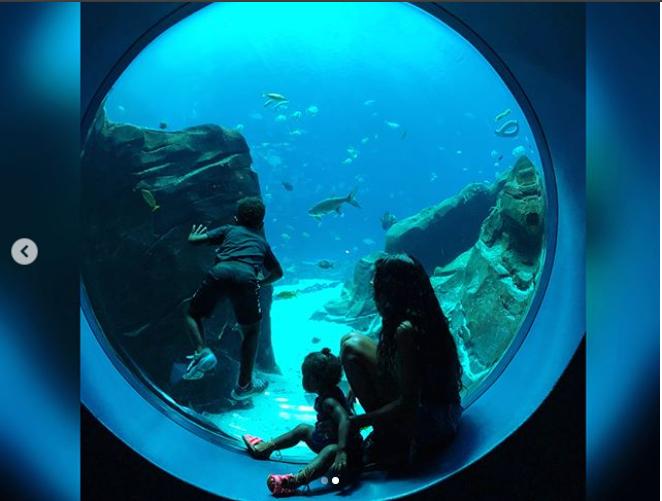 Adorable photos of singer Ciara and her children as they visit Georgia Aquarium