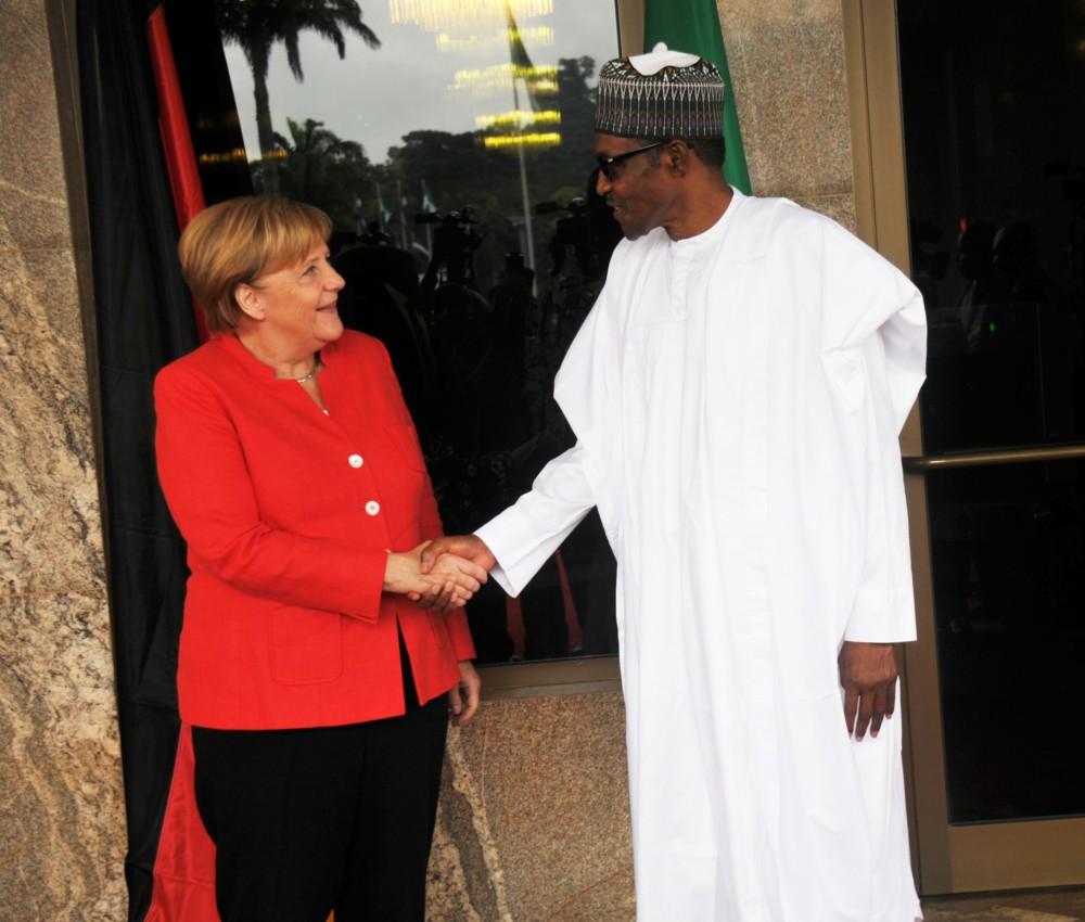 Image result for Buhari receives Angela Merkel at Aso Rock
