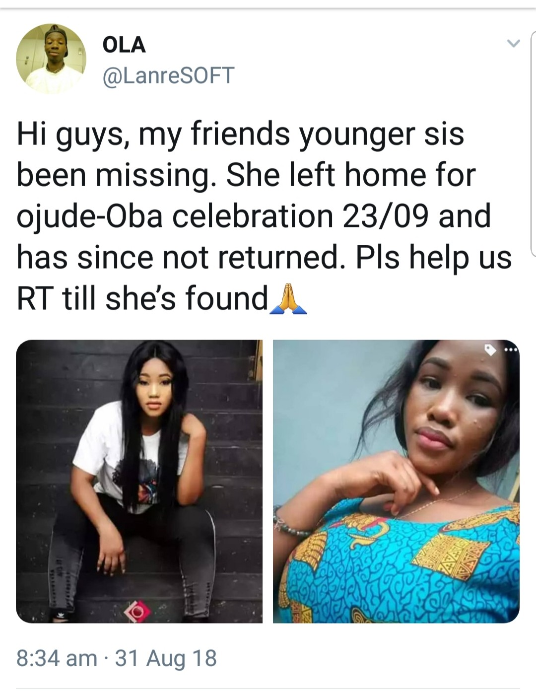 Photos: Young lady who left home for Ojude-Oba festival in Ogun state since August 23rd declared missing