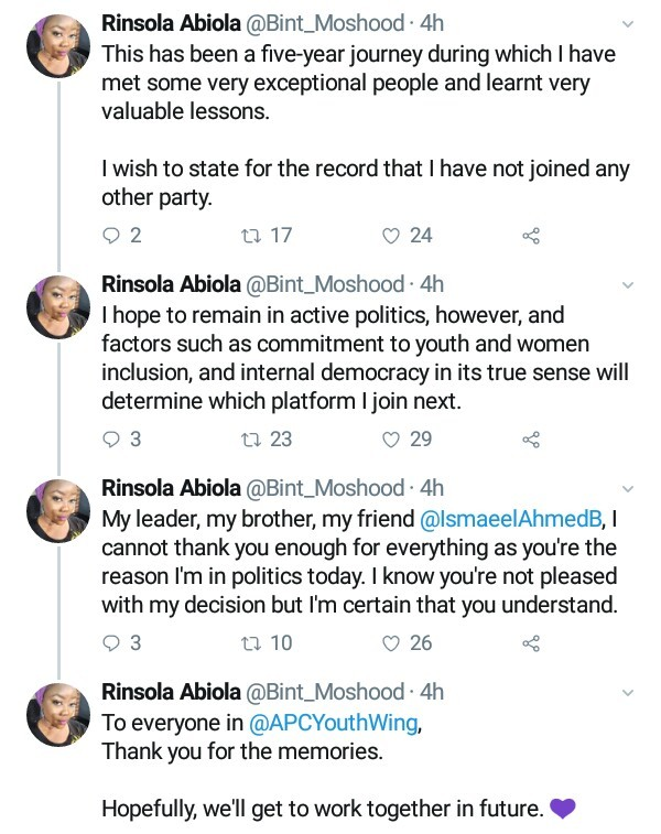 """MKO's daughter, Rinsola Abiola dumps APC, says the party is """"dictatorial and not youth-friendly"""""""