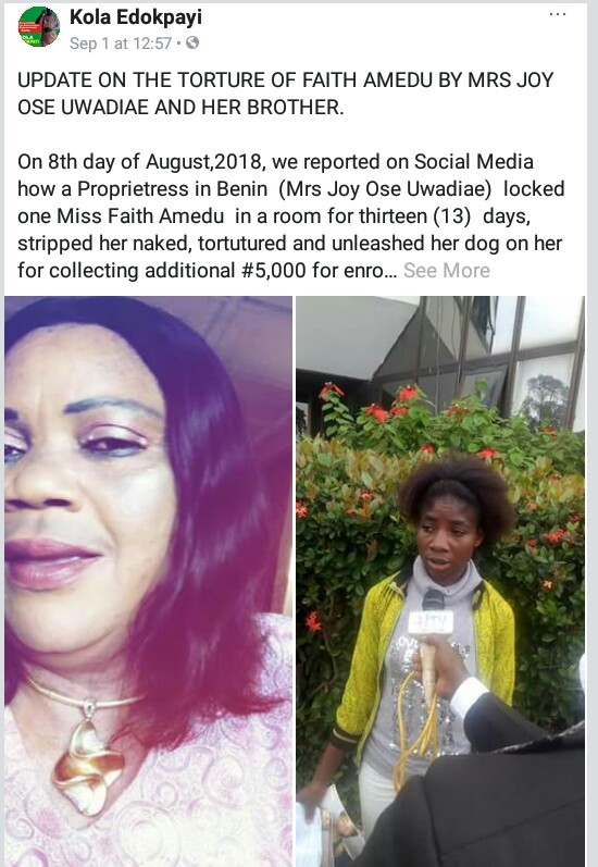 Update on Edo school proprietor who locked female staff in a room for 13 days, stripped her naked, tortured and unleashed dog on her