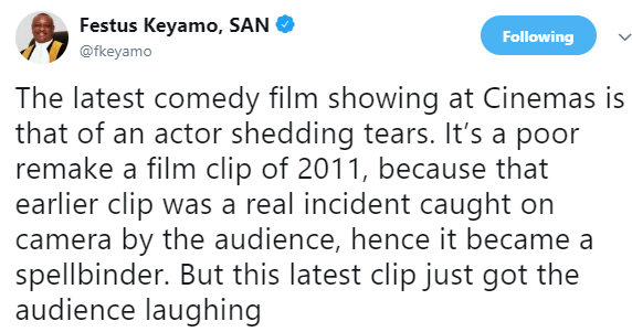 Festus Keyamo trolls Atiku Abubakar on twitter, compares his weeping to  that of President Buhari in 2011