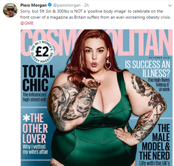 """5ft 3in & 300lbs is NOT a ?positive body image? "" Piers Morgan continues attack on Tess Holliday"