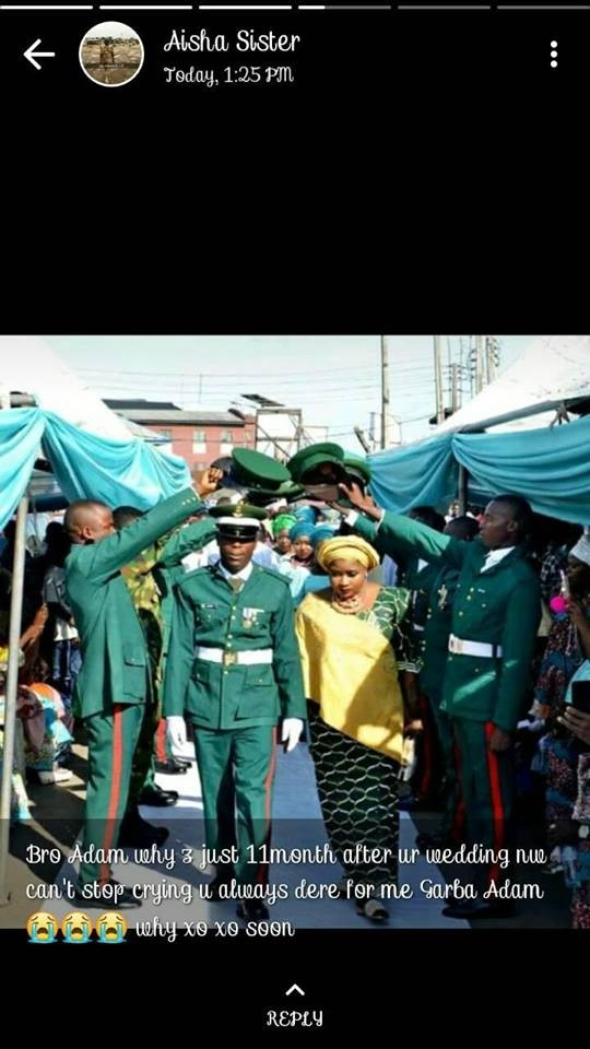 Nigerian Army officer dies 11 months after his wedding (photos)