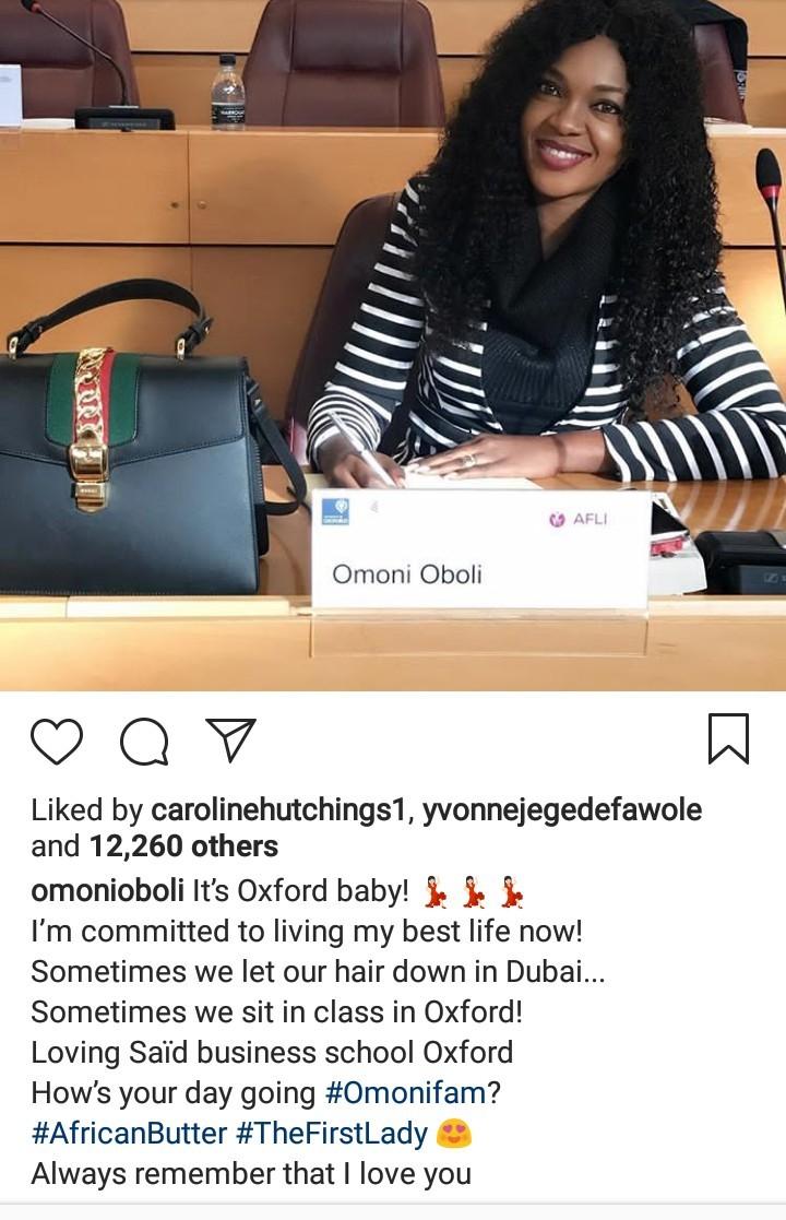 Omoni Oboli now a student at University of Oxford
