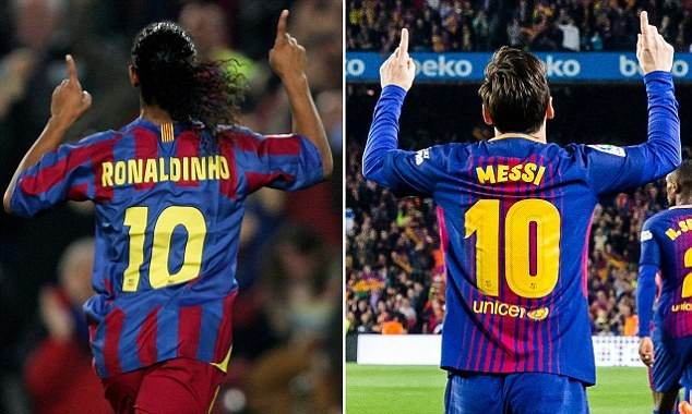 Football legend Ronaldinho demands Barcelona retire famous No 10 shirt when Lionel Messi retires