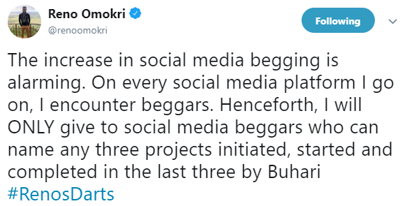 Reno Omokri reveals the only class of social media beggars he will henceforth be giving money to