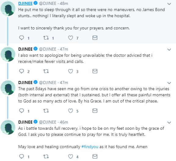 """The past 8days have seen me go from one crisis to another"" - Djinee addresses his accident"
