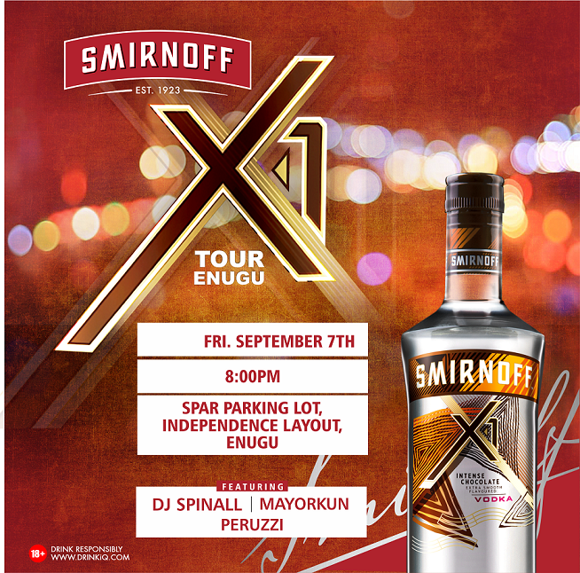 Enugu City turn up!!! The Smirnoff X1 Tour is set to activate in Enugu on Friday 7th September 2018!