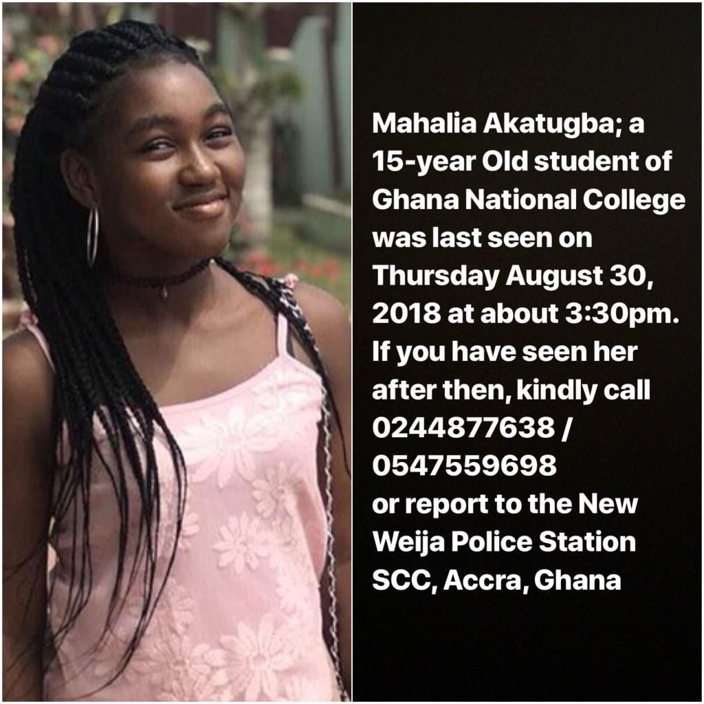 Photo: 15-year-old Nigerian girl declared missing in Ghana