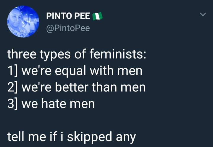 These are the three types of feminists according to a Nigerian man