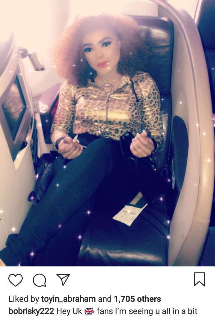 Bobrisky flies first class to the UK to meet his fans
