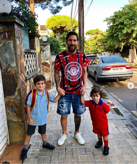 Lionel Messi shares photos of himself taking his sons to school