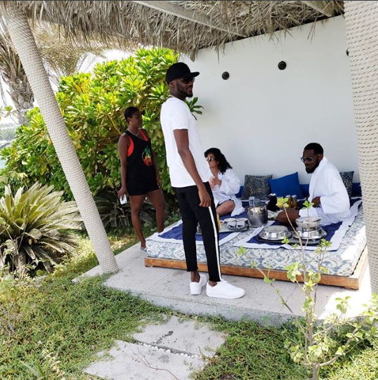 Dbanj feeds his wife as they enjoy romantic vacation