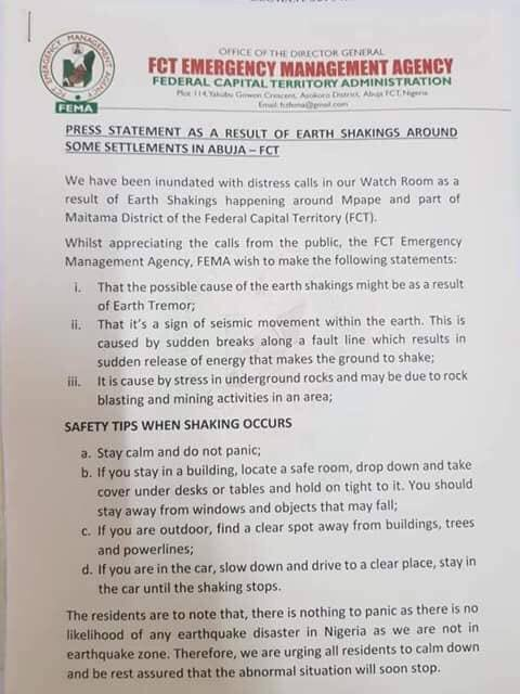 Abuja residents raise alarm as they experience repeated earth tremors, FCT emergency management agency reacts