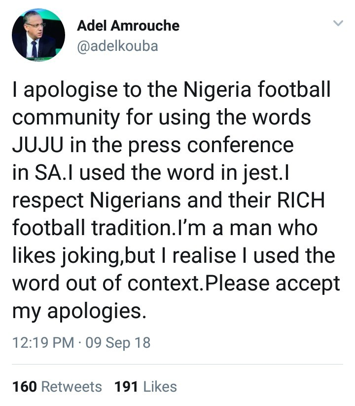 "Libyan coach apologizes after accusing Nigeria of using ""juju"" to win games, Nigerians react"