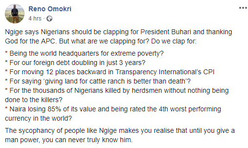 'I hope Okija shrine did not do permanent damage to your psyche' - Reno Omokri slams Chris Ngige for asking Nigerians to clap for Buhari