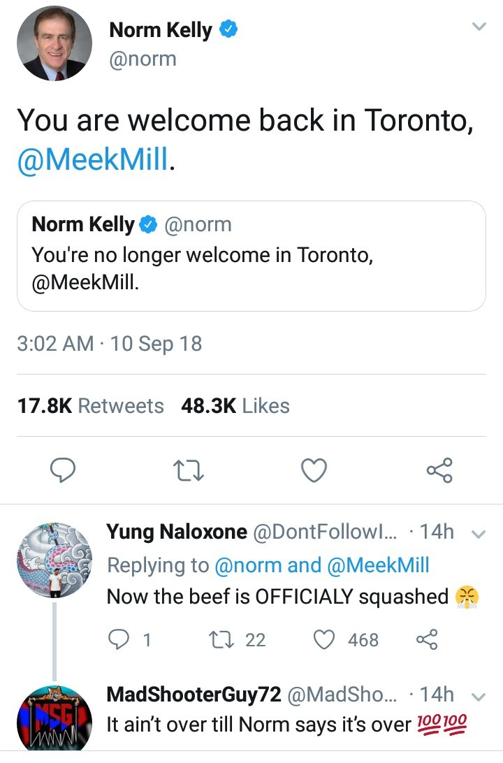 "Toronto politician Norm Kelly lifts ""ban"" placed on Meek Mill after rapper ends feud with Drake"