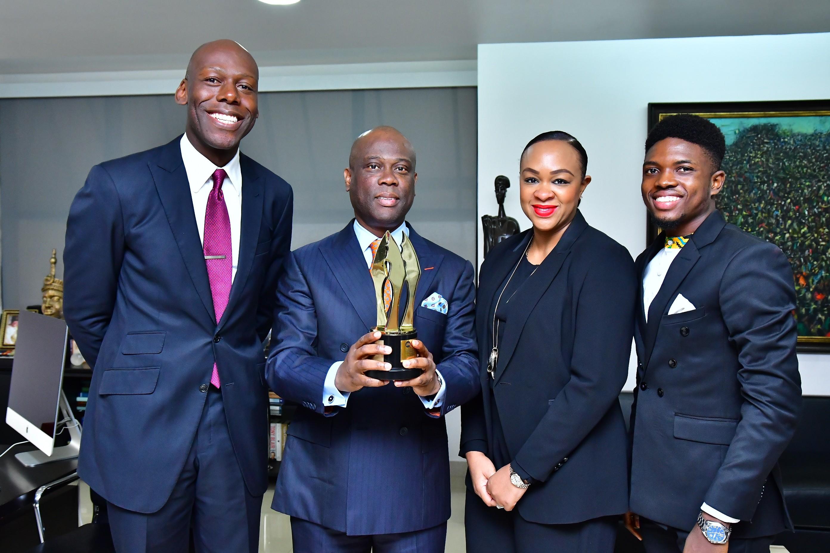 Michael Akinrogunde celebrates AMVCA win with Herbert Wigwe, Accelerate TV
