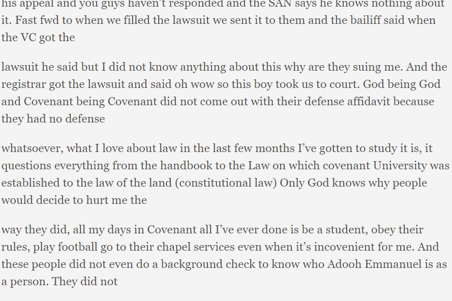 Covenant University student framed and expelled unjustly wins court case against the school and goes online to expose a lot of people