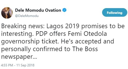Dele Momodu says PDP has offered Femi Otedola governorship ticket for Lagos State and he's accepted