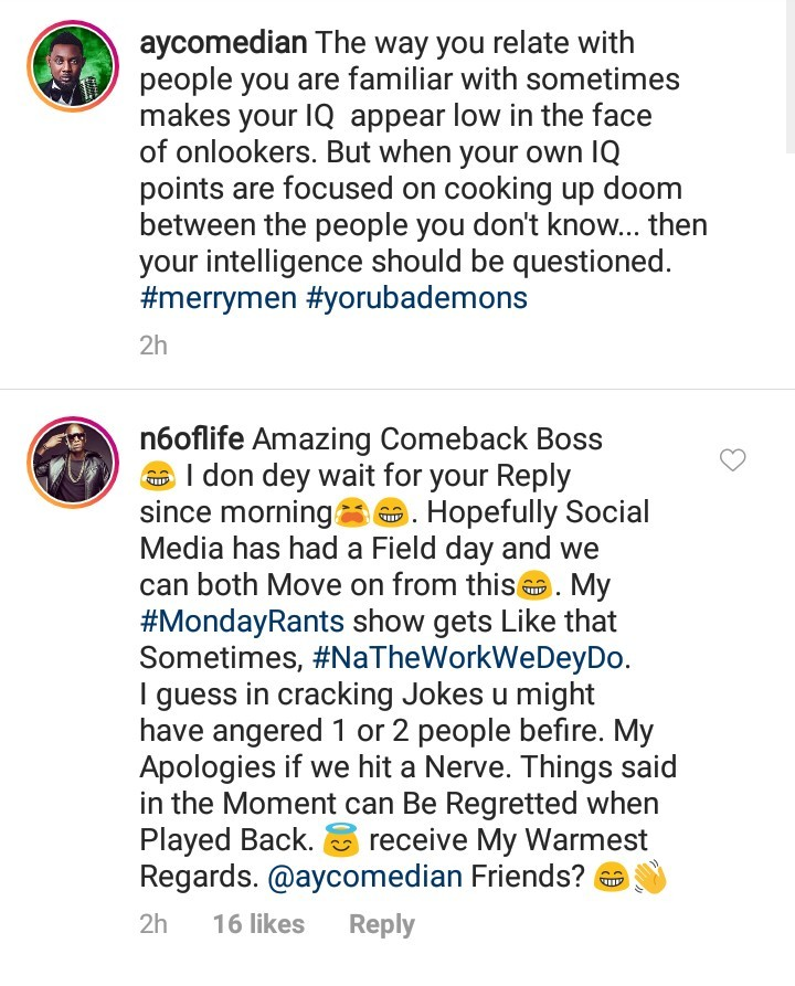 AY hits back at OAP N6 for criticising his comment on Dbanj's post and N6 apologizes
