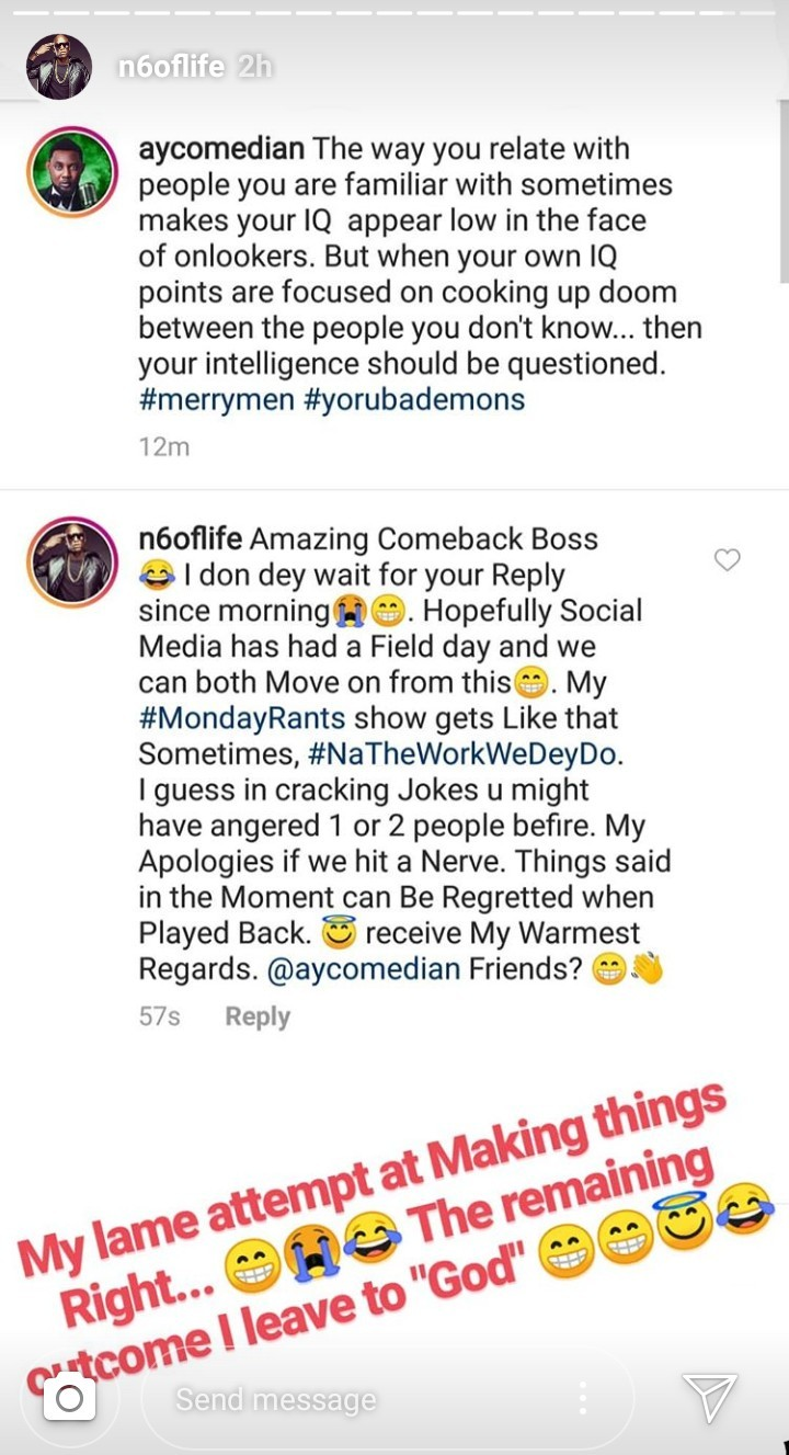 AY hits back at OAP N6 for criticising his comment on Dbanj