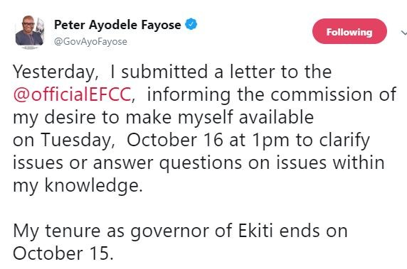 Governor Fayose writes a letter to EFCC?informing the commission about his desire to make himself available for questioning on October 16