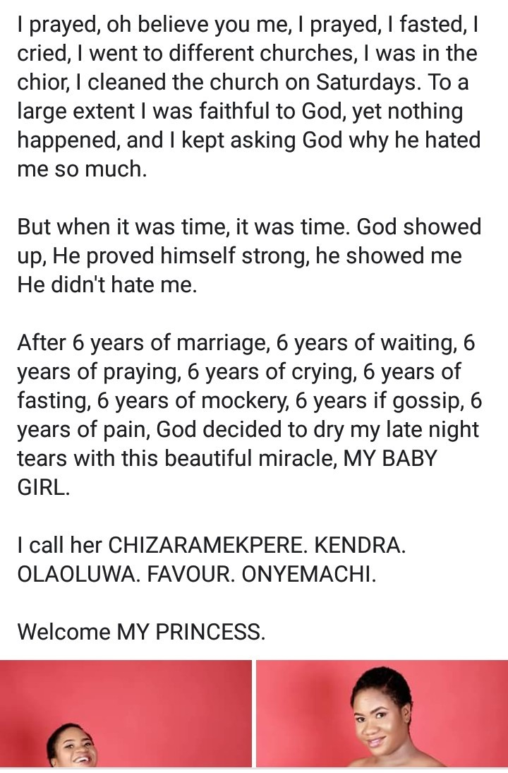 """""""I lost over 19 babies"""" - New mother narrates ordeal after being blessed with a baby girl"""
