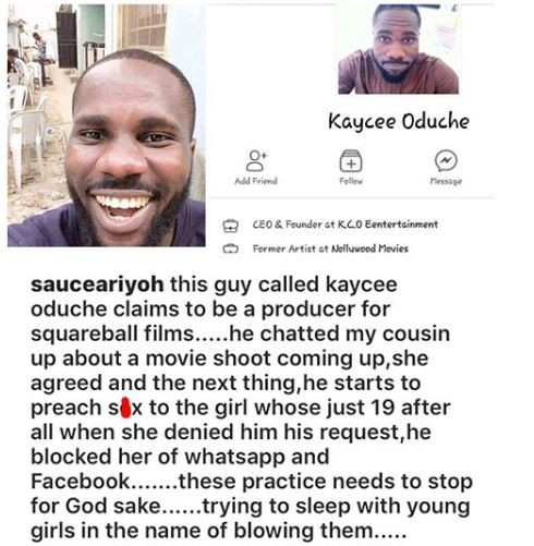 Nigerian actor, calls out video director for allegedly sexually harassing his 19-year old cousin