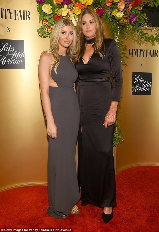 Caitlyn Jenner, 68, rocks elegant black gown as she poses with her rumored girlfriend Sophia Hutchins, 22,?at Vanity Fair bash (Photos)