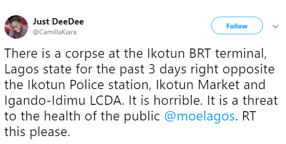 Corpse left at Ikotun BRT terminal for three days