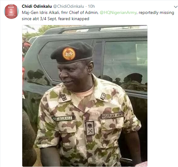 Ex-Chief of admin in the Nigerian Army, Maj-Gen Idris Alkali, reportedly goes missing