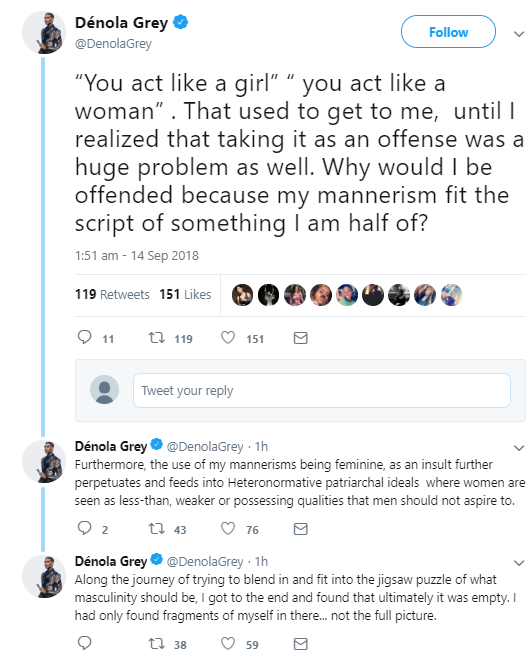 Denola Grey gives interesting response to people who say he acts like a woman