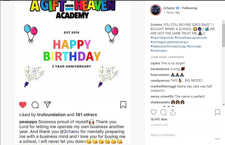 Rapper 2 Chainz celebrates buying his wife a school and shades guys who are still buying handbags for their girlfriends
