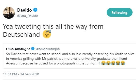 Between Davido and football analyst, Oma Akatugba who accused him of posing for photos in NYSC uniform without going to school