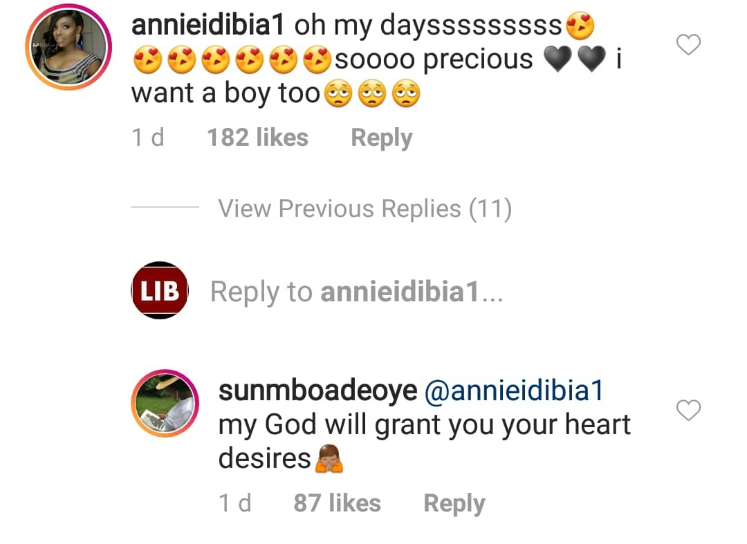 Sunmbo Adeoye prays for Annie Idibia to have a boy for singer, 2face Idibia