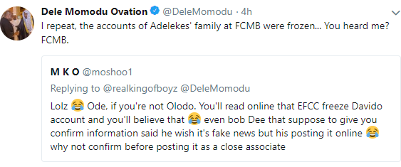 Dele Momodu confirms Davido's family's accounts have been frozen