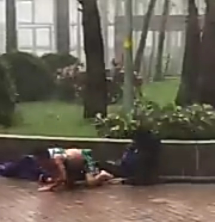 Watch father and son get swept away as Typhoon Mangkhut batters China after leaving at least 49 dead in the Philippines
