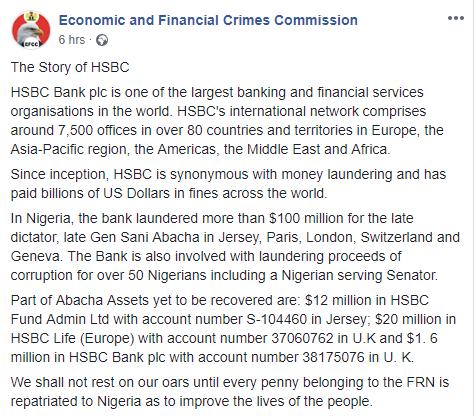 EFCC slams HSBC for predicting Buhari