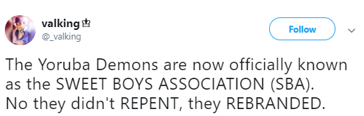 Nigerians on Twitter react to the Sweet Boys Association and it
