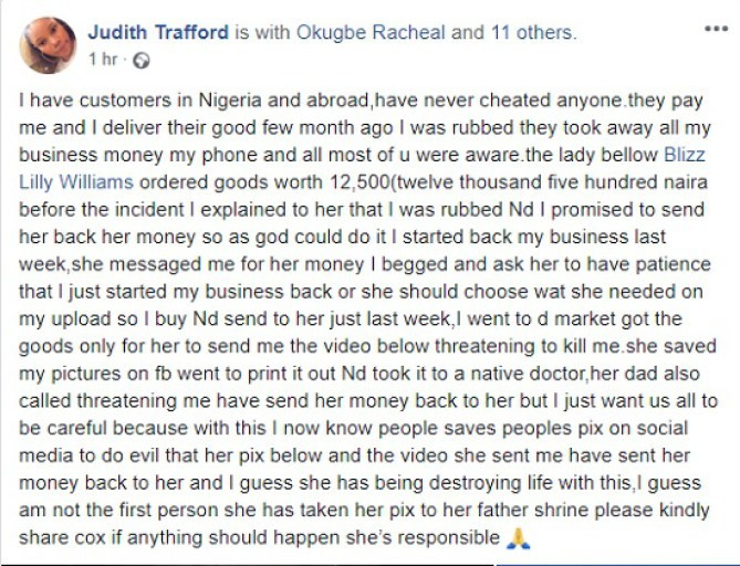 Lady raises alarm after client she owed money took her photo to a shrine