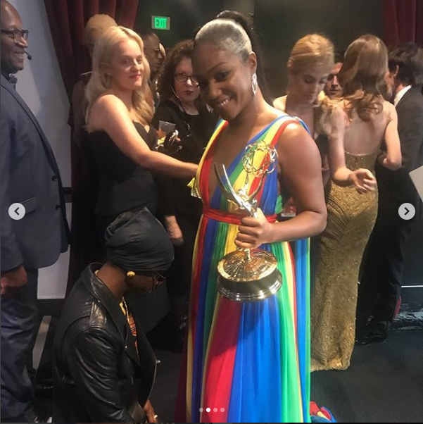 Katt Williams squashes beef with Tiffany Haddish at the Emmys, kneels before her to beg for forgiveness (Photos)