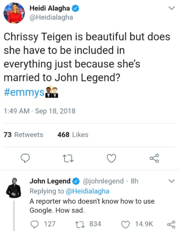 John Legend claps back at reporter who disrespected his wife on Twitter